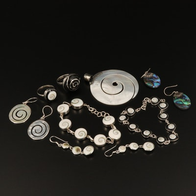 Sterling Silver Jewelry Selection Featuring Abalone, Mother of Pearl, and Shell