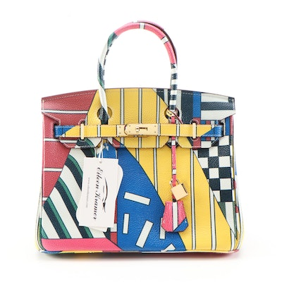 Eileen Kramer Colorful Mixed Stripe Printed Leather Structured Two-Way Satchel