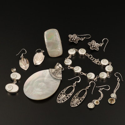 Sterling Silver Jewelry with Mother of Pearl and Shell
