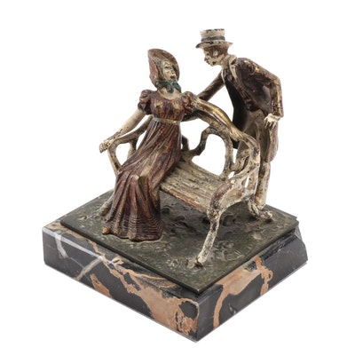 Cold-Painted Brass Courting Scene Tableau on Marble Base, Early 20th Century