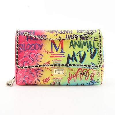 Eileen Kramer MAIDUDU M™ Graffiti Print Quilted Leather Flap Front Shoulder Bag