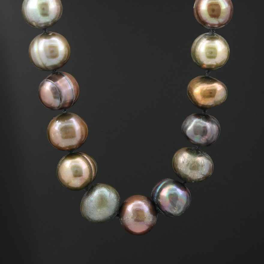 Greenish Brown Pearl Necklace with 14K Yellow Gold Clasp