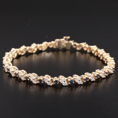 14K Yellow Gold 1.92 CTW Diamond and Sapphire Line Bracelet