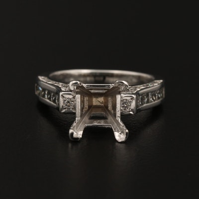 14K and 18K White Gold 1.00 CTW Diamond Semi-Mount Ring
