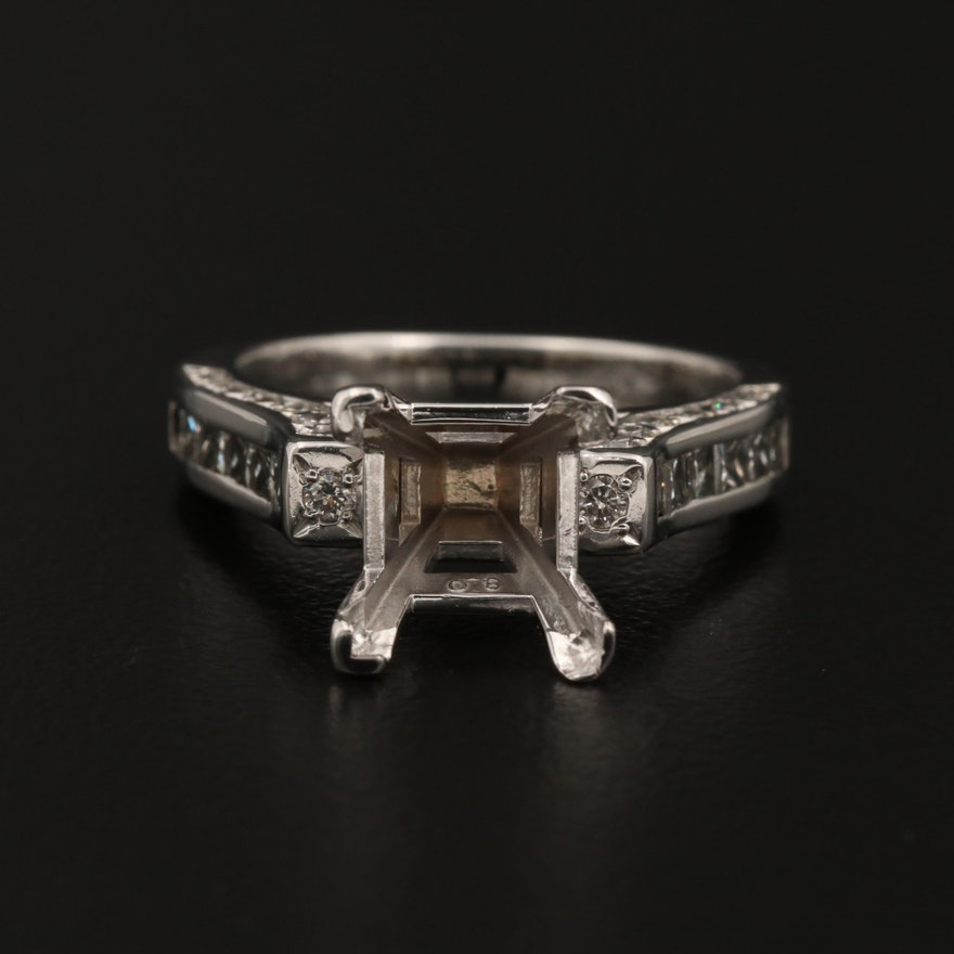 14K and 18K White Gold 1.00 CTW Diamond Semi-Mount Ring