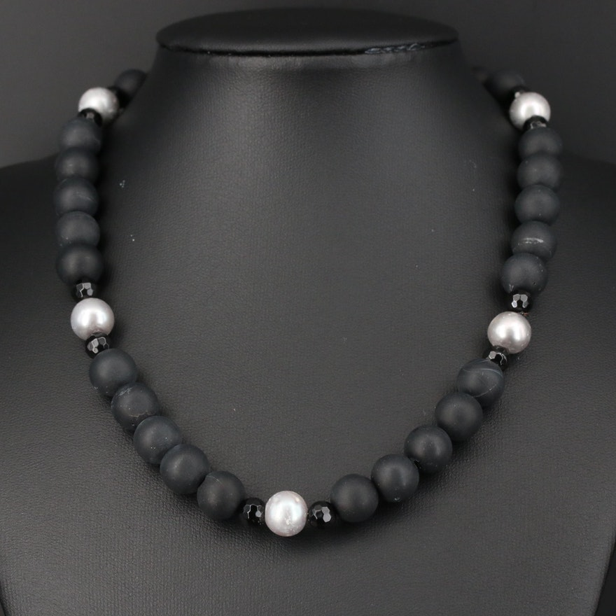 Black Onyx and Silver Pearl Beaded Necklace with 14K Yellow Gold Clasp