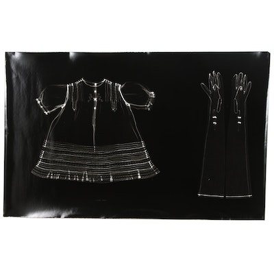 Karen Savage Life-Size Photogram of a Dress and Gloves