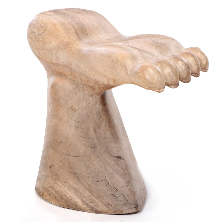 """Contemporary Carved Hardwood """"Foot"""" Stool"""