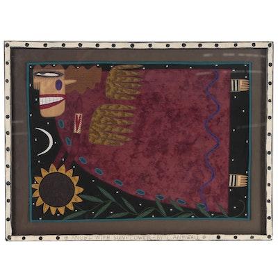 "Chris Roberts-Antieau Folk Art Fabric Painting ""Angel With Sunflower"""