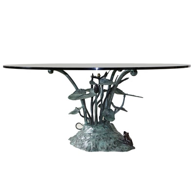 Maitland-Smith Figural Bronzed Metal and Glass Dining Table