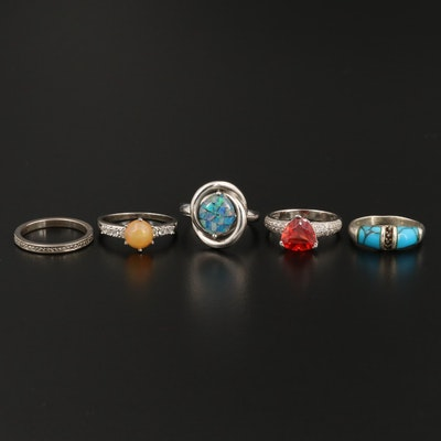 Sterling Silver Ring Selection Featuring Opal and Synthetic Corundum
