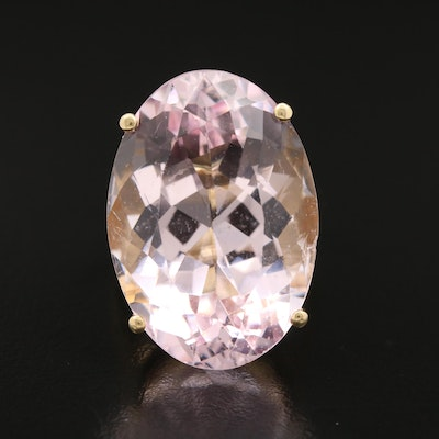 18K Yellow Gold Oval Faceted 36.24 CT Morganite Ring