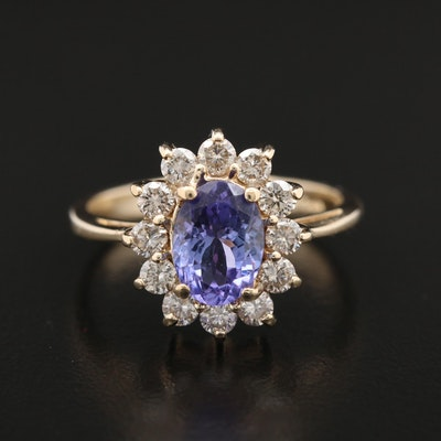 14K Yellow Gold Tanzanite and 0.60 CTW Diamond Ring