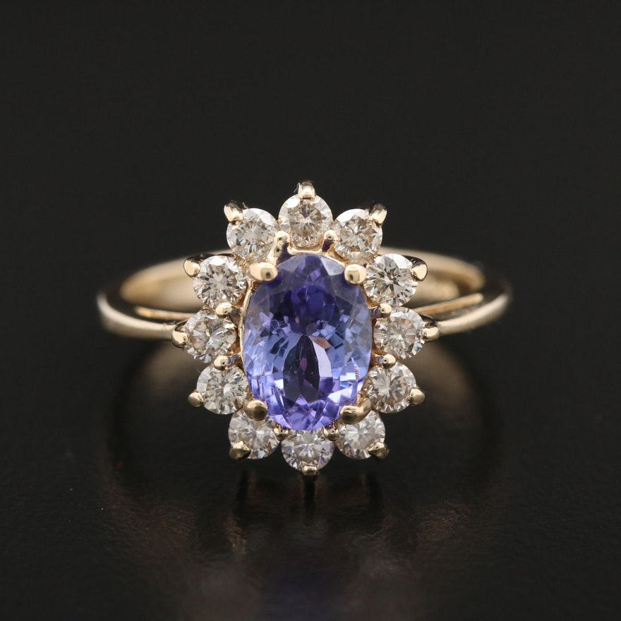 14K Yellow Gold Tanzanite and 0.60 CTW Diamond Ring
