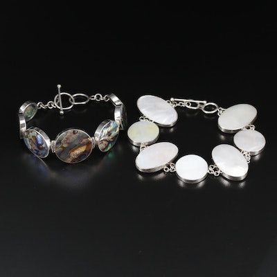 Sterling Silver Abalone and Mother of Pearl Bracelets