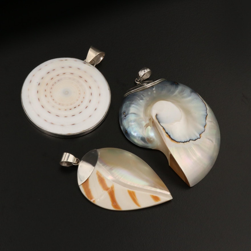 Trio of Sterling Silver Shell Pendants