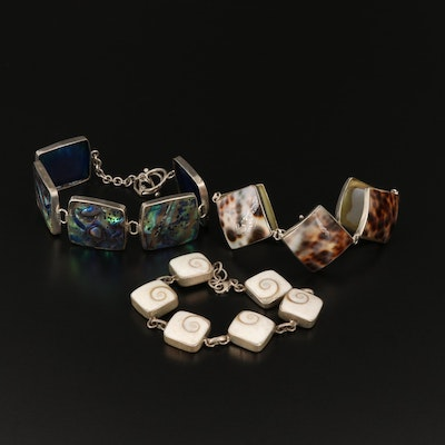 Sterling Silver Shell and Abalone Bezel Link Bracelets