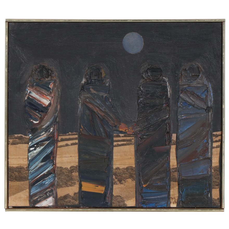 """Trudy Fischer Mixed Media Painting """"Meeting in the Country"""", 1964"""