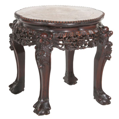 Chinese Hardwood and Pink Marble Side Table, Late 19th/Early 20th Century