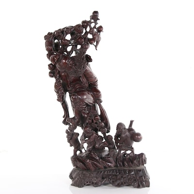 Antique Chinese Carved Wood Sculpture of Man with Child and Monkeys