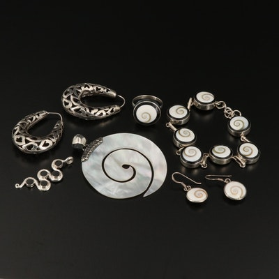 Sterling Silver Mother of Pearl and Shell Bracelet, Earrings and Pendants