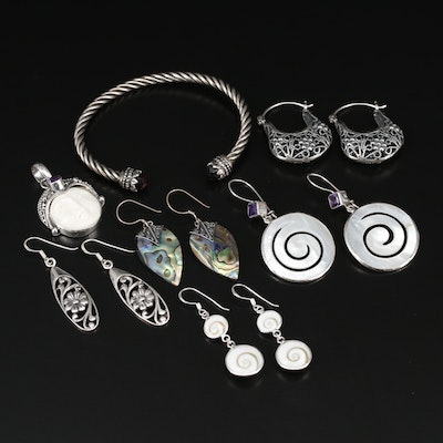 Sterling Silver Jewelry Selection Featuring Bone, Abalone, and Amethyst