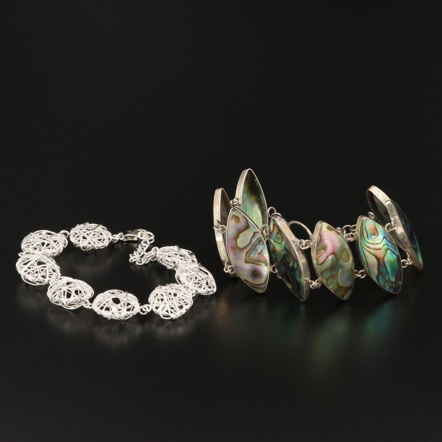 Sterling  Wirework Bracelet and Abalone Bracelet