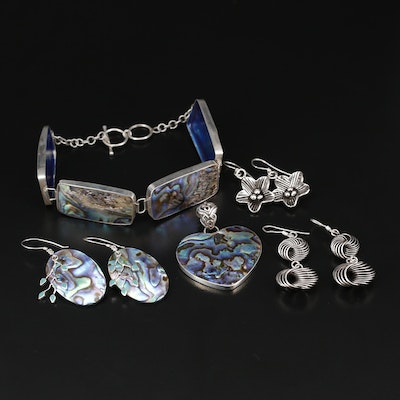 Sterling Silver Jewelry Selection Featuring Abalone Shell and Enamel Accents