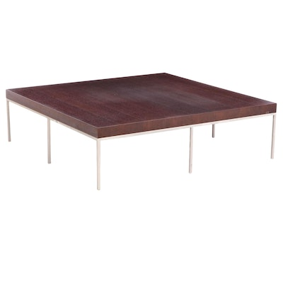 "Antonio Citterio for Maxalto ""Ebe"" Oak and Metal Square Coffee Table"