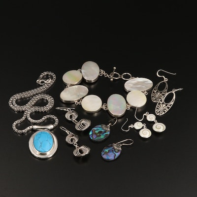 Assorted Sterling Silver Jewelry Including Abalone, Shell and Magnesite