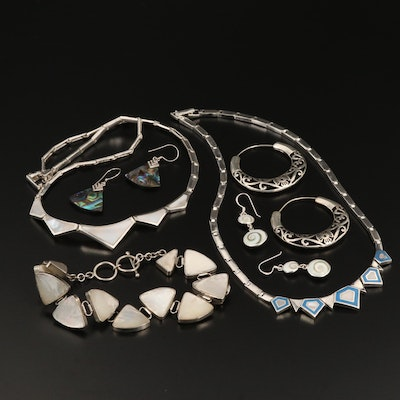 Sterling Silver Jewelry Selection Featuring Abalone, Mother of Pearl, and Enamel