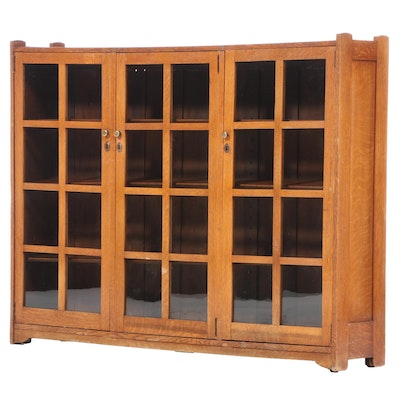 Arts and Crafts Oak Triple-Door Bookcase, Early 20th Century