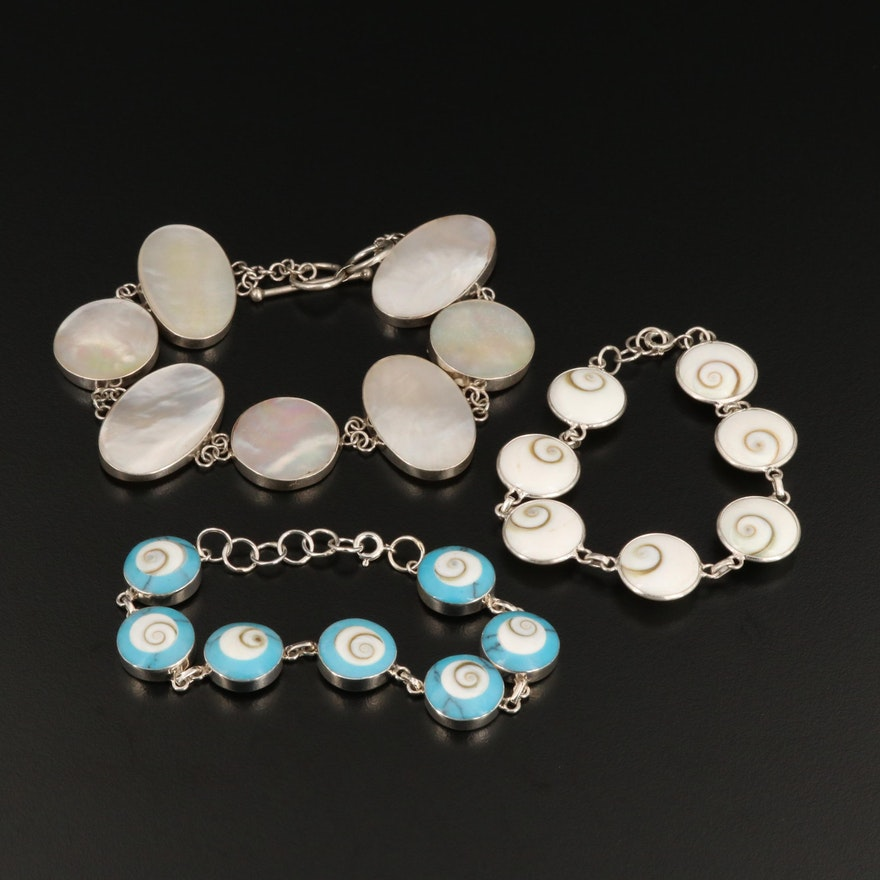 Sterling Silver Link Bracelets Featuring Mother of Pearl, Shell, and Operculum