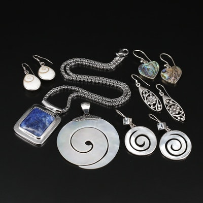 Collection of Sterling Jewelry with Lapis Lazuli, Mother of Pearl and Shell