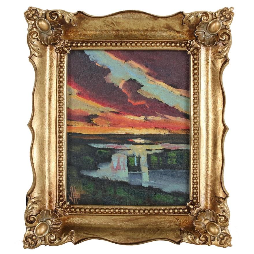William Hawkins Sunset Landscape Oil Painting