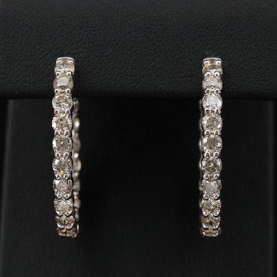 14K Gold 5.04 CTW Diamond Inside-Out Elongated Hoop Earrings