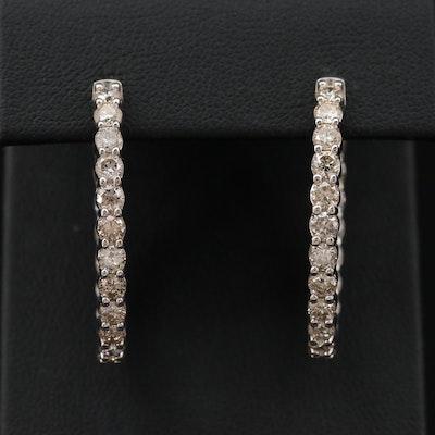 14K Gold 4.10 CTW Diamond Elongated Inside-Out Hoop Earrings
