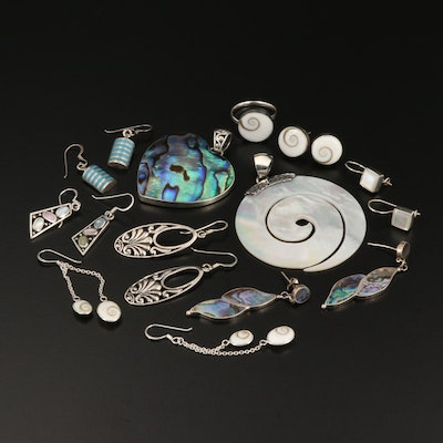Sterling Ring, Pendants and Earrings with Abalone, Shell and Mother of Pearl