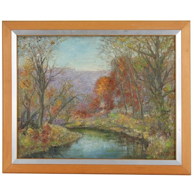 "Autumn Landscape Oil Painting ""Dunellen in November"", Late 20th century"
