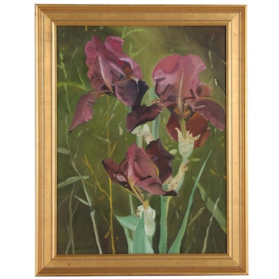 Susan Grier Plein Air Acrylic Painting of Lilies