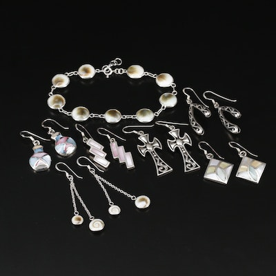 Collection of Sterling Earrings and Bracelet with Mother of Pearl and Shell
