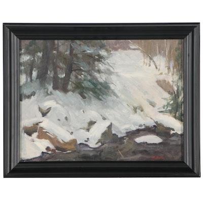 "Harry Barton Landscape Oil Painting ""Snow Bank"", Mid 20th Century"