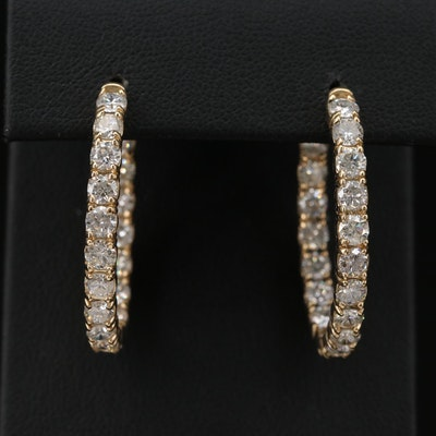 14K Yellow Gold 5.50 CTW Diamond Inside Out Hoop Earrings