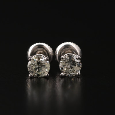 14K White Gold 0.91 CTW Diamond Solitaire Stud Earrings