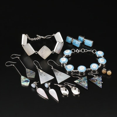 Sterling Jewelry Including 800 Silver, Shell, Abalone and Mother of Pearl