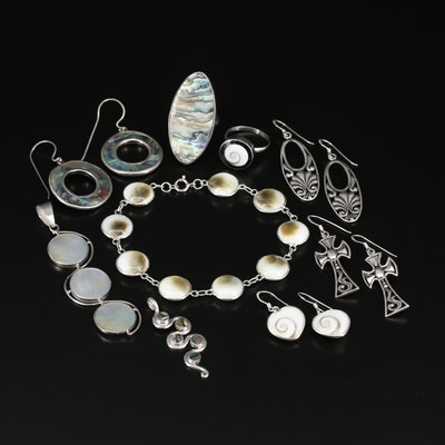 Sterling Silver Jewelry Including Abalone, Shell and Mother of Pearl
