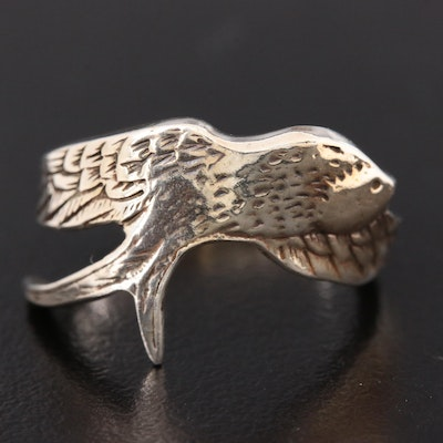 Vintage Sterling Silver Figural Swallow Open Shank Ring