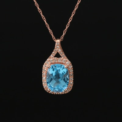 14K Rose Gold Topaz and Diamond Pendant Necklace