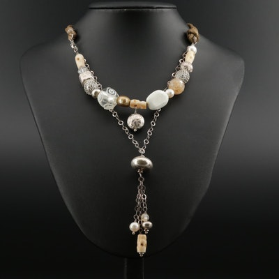 Sterling Silver Necklace Featuring Glass, Magnesite, Cultured Pearl, and Bone