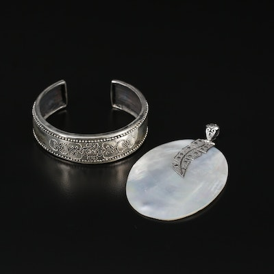 Sterling Silver Cuff and Mother of Pearl Pendant